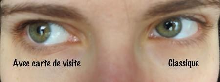 Comparaison des yeux avec / sans carte de visite